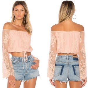 NWT Lovers + Friends Long Sleeve Lace Top Large